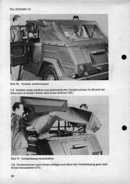 VW Kübel 181 Verdeck zusammenlegen Schritt 2