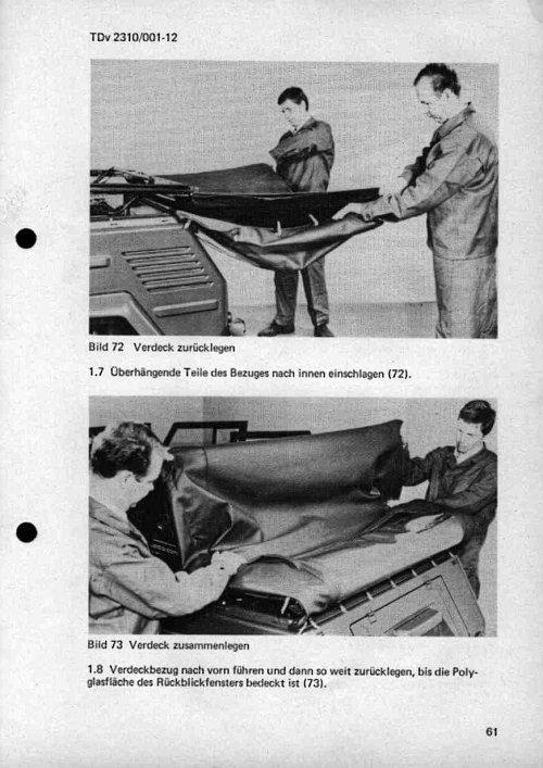 VW Kübel 181 Verdeck zusammenlegen Schritt 3